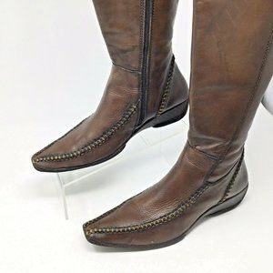 Pikolinos~Tall Leather Boots~Heavily Stitched~